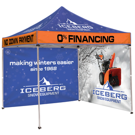 10' square tent with two full double sided walls