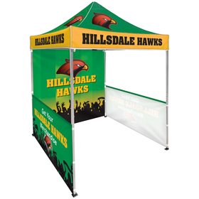 6.5' square canopy tent with 1 full double sided wall & 2 single sided half walls
