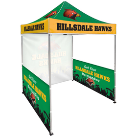 6.5' square canopy tent with 1 full single sided wall & 2 double sided half walls