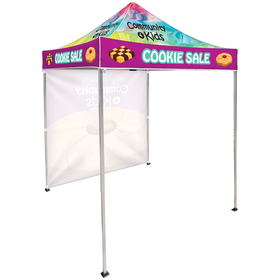 6.5' square canopy tent with 1 full single sided wall