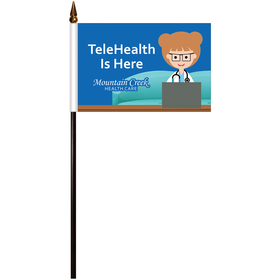 "4"" x 6"" single reverse polyester stick flags"