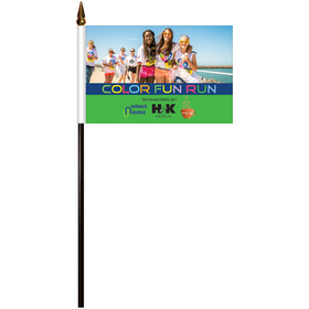 """4"""" x 6"""" Single Reverse Polyester Stick Flags"""