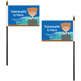"4"" x 6"" Double Sided Polyester Stick Flags"