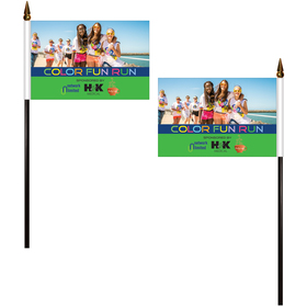 """4"""" x 6"""" Double Sided Polyester Stick Flags"""