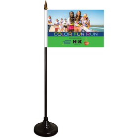 """4"""" x 6"""" single reverse stick flag with black wooden base"""