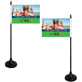 """4"""" x 6"""" double sided stick flag with black wooden base"""