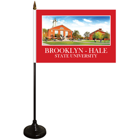 "6"" x 9"" Single Reverse Stick Flag with Black Wooden Base"
