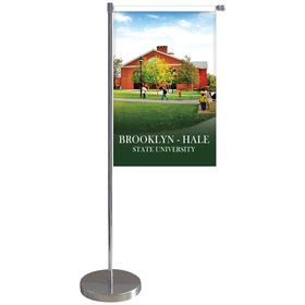"11-19.7"" Metal Telescopic Flagpole w/ Double Sided Banner"