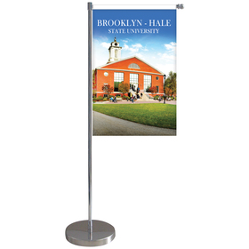 "11-19.7"" Metal Telescopic Flagpole w/ Single Reverse Banner"