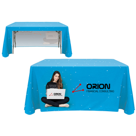 4' customized open back throw style table cover