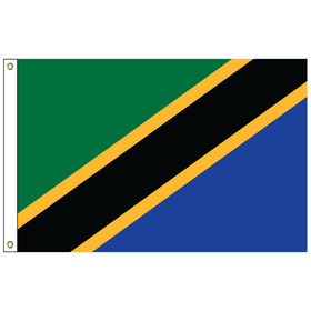 tanzania 2' x 3' outdoor nylon flag with heading and grommets