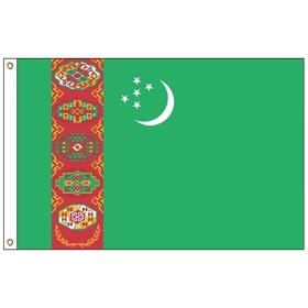turkmenistan 3' x 5' outdoor nylon flag w/heading & grommets