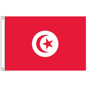 tunisia 5' x 8' outdoor nylon flag with heading and grommets