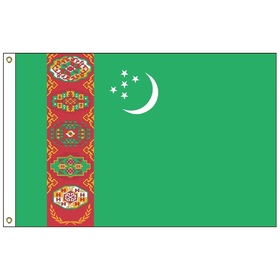 turkmenistan 5' x 8' outdoor nylon flag w/heading & grommets