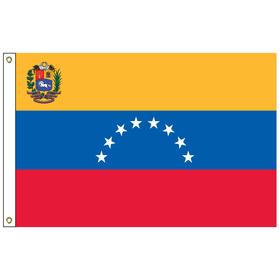 venezuela with seal 5' x 8' outdoor nylon flag w/ heading & grommets
