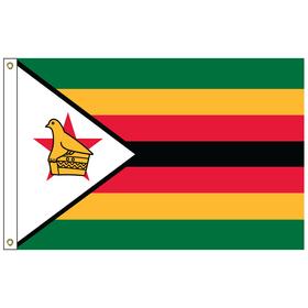 zimbabwe 5' x 8' outdoor nylon flag w/ heading & grommets
