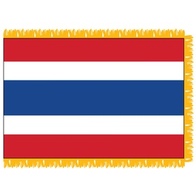 thailand 3' x 5' indoor nylon flag w/ pole sleeve & fringe