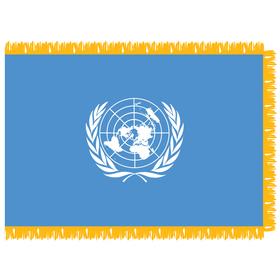 united nations 4' x 6' indoor nylon flag w/ pole sleeve & fringe
