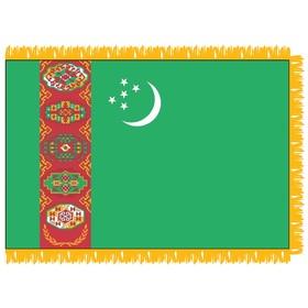 turkmenistan 3' x 5' indoor nylon flag w/pole sleeve & fring