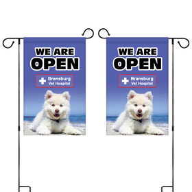 "12"" x 18"" custom double sided garden banner"