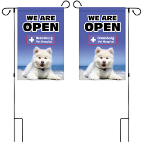 """12"""" x 18"""" Custom Double Sided Garden Banner with Hardware"""