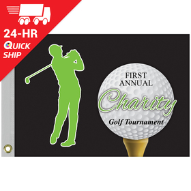 "24 - Hour 14"" X 20"" Single Reverse Golf Flag with Heading and Grommets"