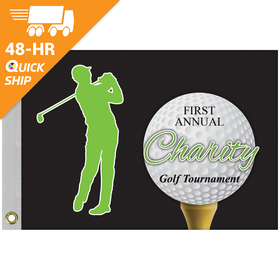 "48 - hour 14"" x 20"" single reverse golf flag with heading and grommets"