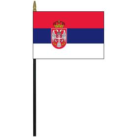 """serbia 4"""" x 6"""" staff mounted rayon"""