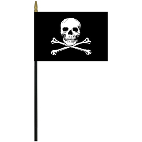 "jolly roger 4"" x 6"" staff mounted rayon"