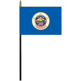 """minnesota 4"""" x 6"""" staff mounted rayon flag"""