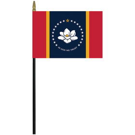 """mississippi 4"""" x 6"""" staff mounted rayon flag"""