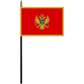 "montenegro 4"" x 6"" staff mounted rayon flag"