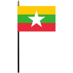 "myanmar 4"" x 6"" staff mounted rayon flag"