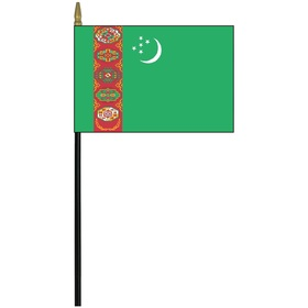 "turkmenistan 4"" x 6"" staff mounted rayon flag"