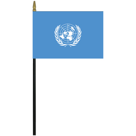 """united nations 4"""" x 6"""" staff mounted rayon flag"""