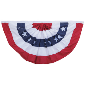 "18"" x 36"" 5 stripes & stars heavy polyester pleated fan"