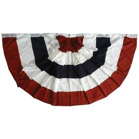 3' x 6' 5-stripe printed cotton pleated fan