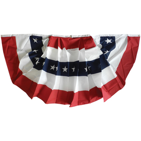 4' x 8' printed cotton 5-stripes & stars pleated fan