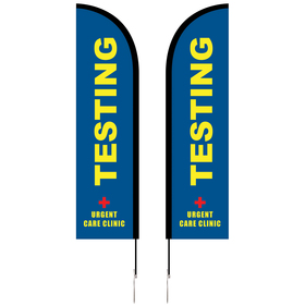 8' Double Sided Portable Half Drop Banner w/ Hardware Set