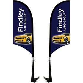 Double Sided Portable Half Drop Car Flag-Non-Adjustable Base