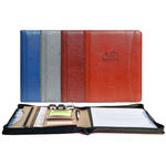"pro designer pu leather 8.5"" x 11"" zippered portfolio"