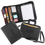 "classic faux leather 8.5"" x 11"" 2"" 3-ring zippered portfolio"