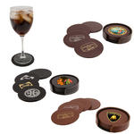 atlantis leather round coaster set