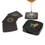 atlantis leather square coaster set