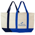 "islandlife 3 front pocket 20"" deluxe zippered cotton canvas tote bag"