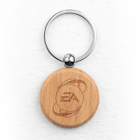 oceanside circular wood key chain