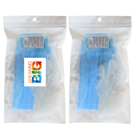 3-ply face mask, 2oz hand sanitizer, vinyl glove ppe kit