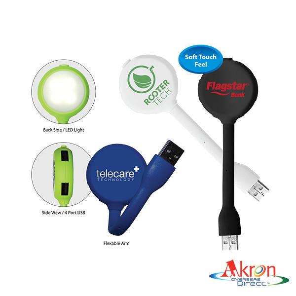 Overseas Direct, Halcyon® 4 Port USB Hub with LED Light