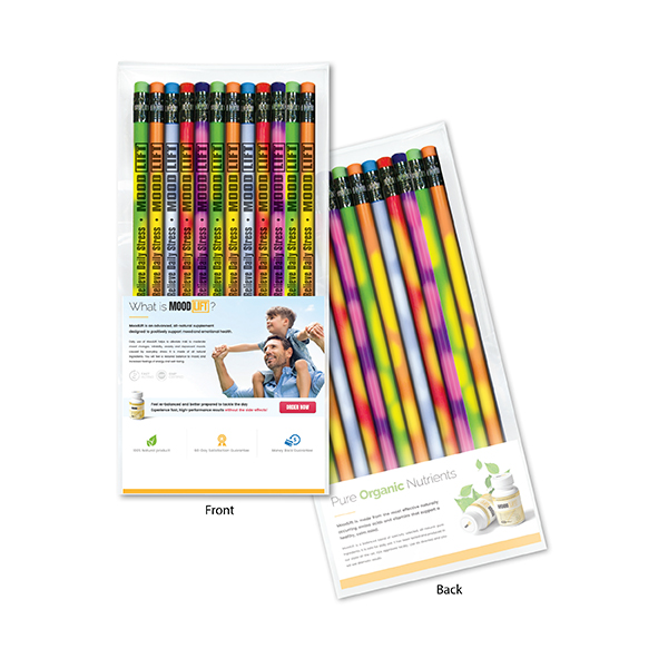 Create-A-Pack Pencil Set of 12 - Mood Pencil w/ Colored Eraser