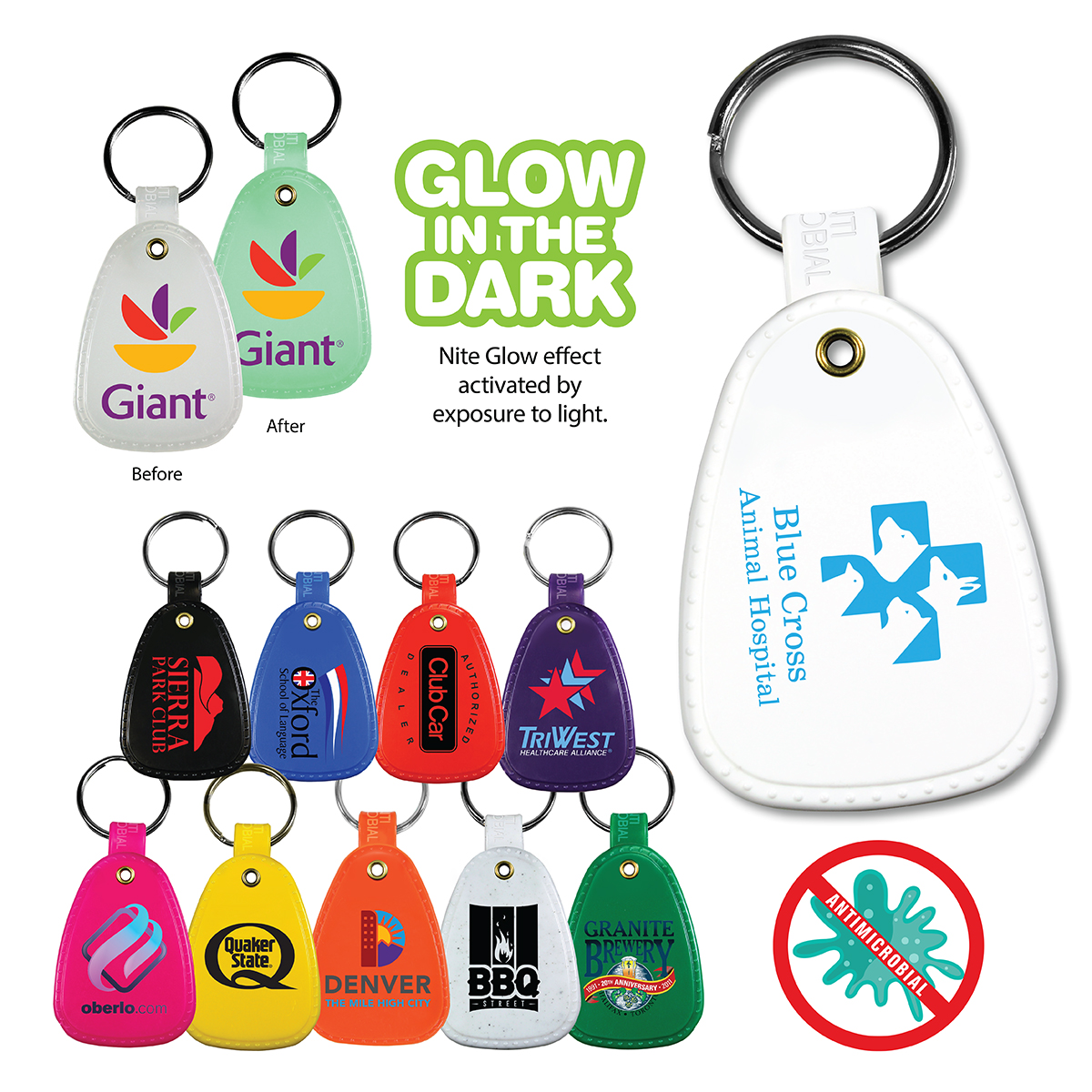 Antimicrobial Western Saddle Key Tag